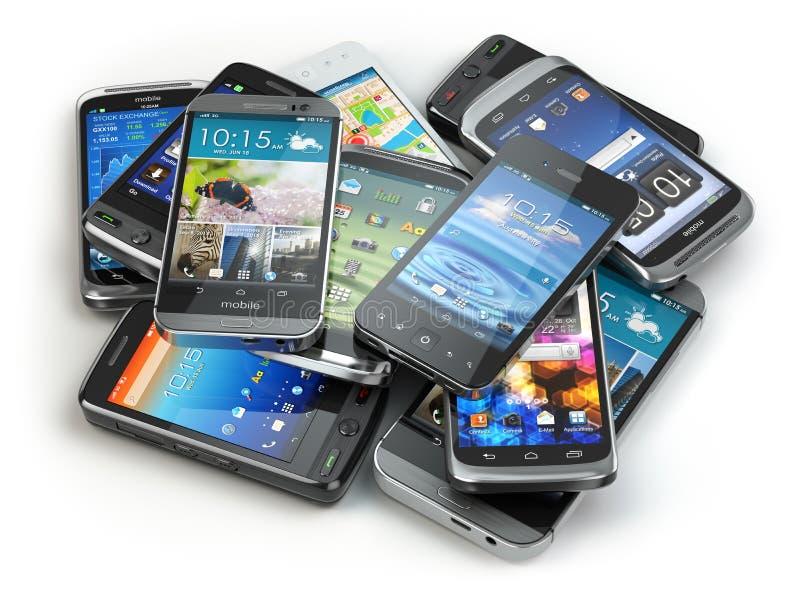 Επιλέξτε το κινητό τηλέφωνο Σωρός των διαφορετικών smartphones ελεύθερη απεικόνιση δικαιώματος