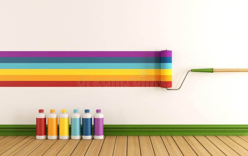 Επιλέξτε swatch χρώματος για να χρωματίσετε τον τοίχο διανυσματική απεικόνιση