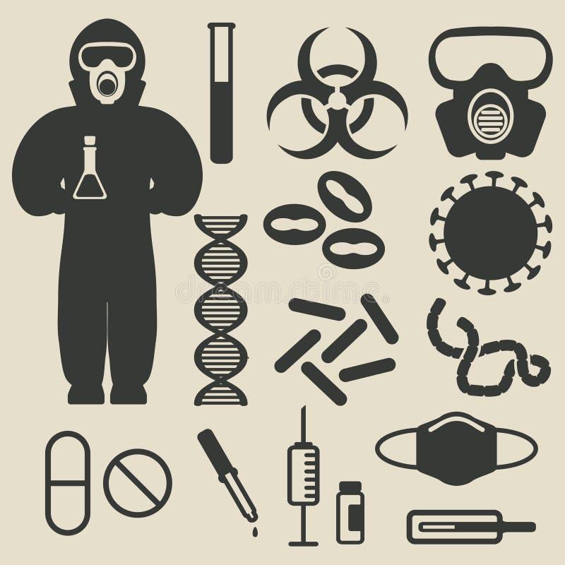 Επιδημική προστασία και ιατρικά εικονίδια καθορισμένες ελεύθερη απεικόνιση δικαιώματος