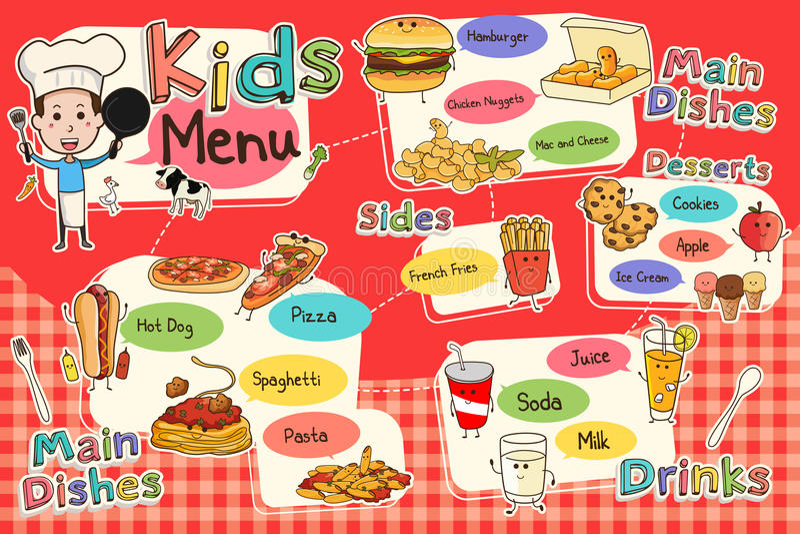 Επιλογές γεύματος παιδιών διανυσματική απεικόνιση