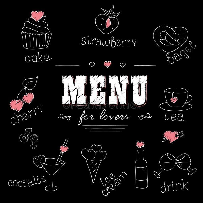 Επιλογές για τους εραστές Τρόφιμα με τις καρδιές Αγάπη ρομαντική ελεύθερη απεικόνιση δικαιώματος
