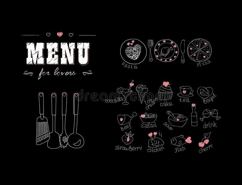 Επιλογές για τους εραστές Τρόφιμα με τις καρδιές ευτυχείς βαλεντίνοι ημέ&rho Στοιχεία ντεκόρ Doodle συρμένο χέρι chalkboard διανυσματική απεικόνιση