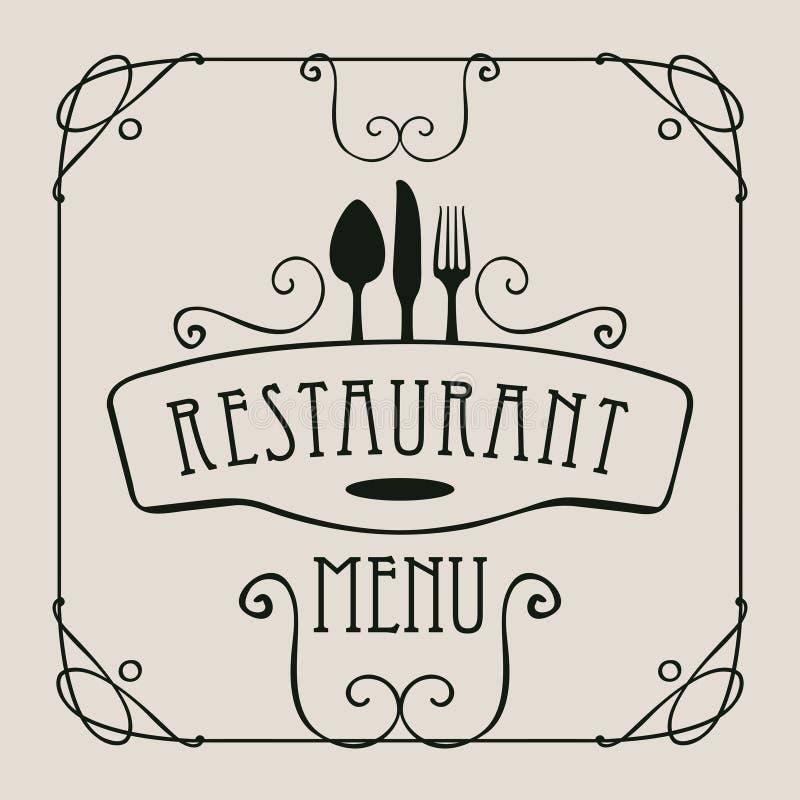 Επιλογές για το εστιατόριο με flatware και curlicues διανυσματική απεικόνιση