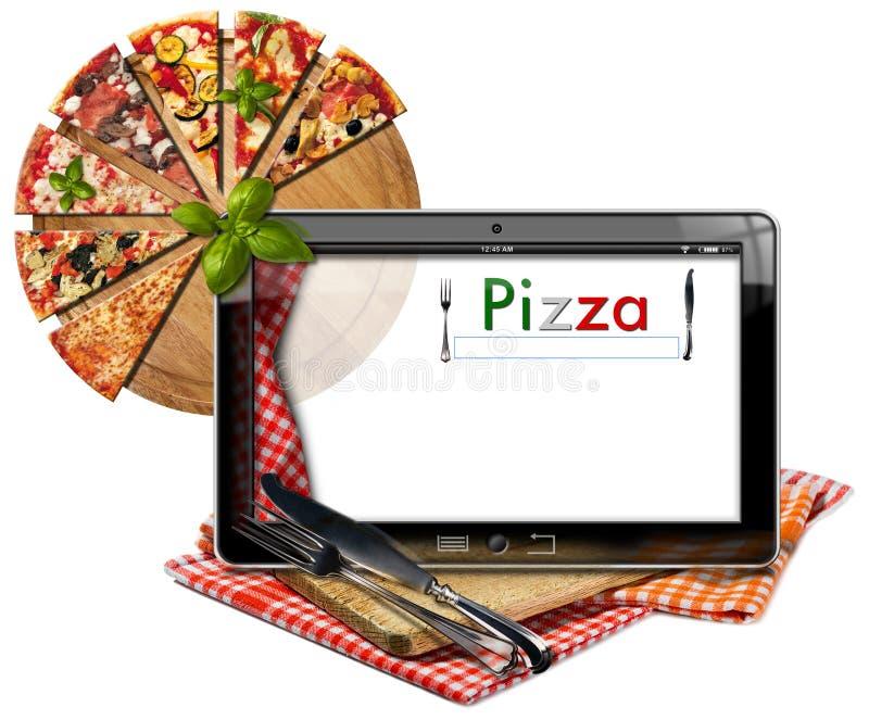 Επιλογές πιτσών στον υπολογιστή ταμπλετών διανυσματική απεικόνιση