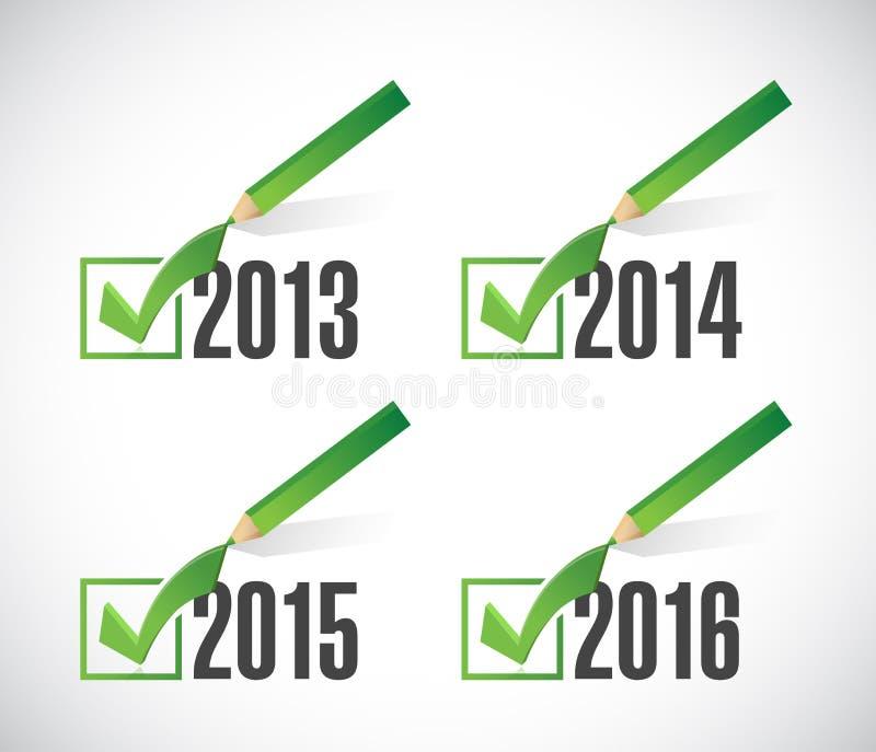 επιλογές σημαδιών ελέγχου του 2016 του 2015 του 2014. απεικόνιση αποθεμάτων