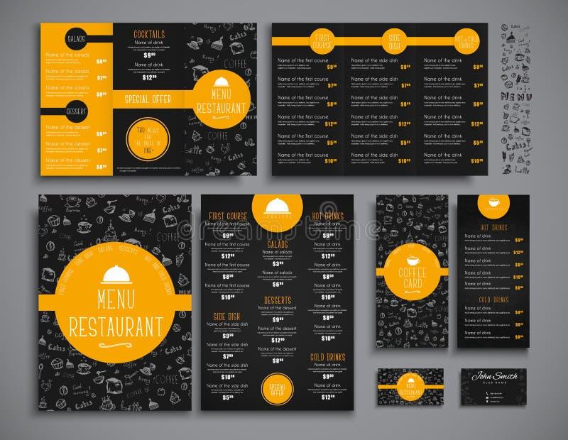 Επιλογές συνόλου A4, που διπλώνουν το στενό φυλλάδιων και ιπτάμενων για ένα restauran ελεύθερη απεικόνιση δικαιώματος