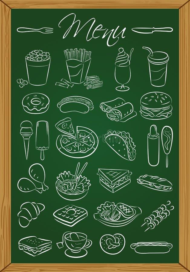 Επιλογές τροφίμων στον πίνακα κιμωλίας ελεύθερη απεικόνιση δικαιώματος