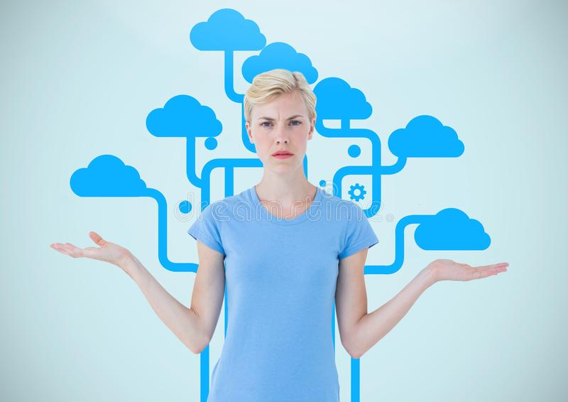 Επιλογή γυναικών ή σύννεφα απόφασης με τα ανοικτά χέρια παλαμών στοκ φωτογραφία με δικαίωμα ελεύθερης χρήσης