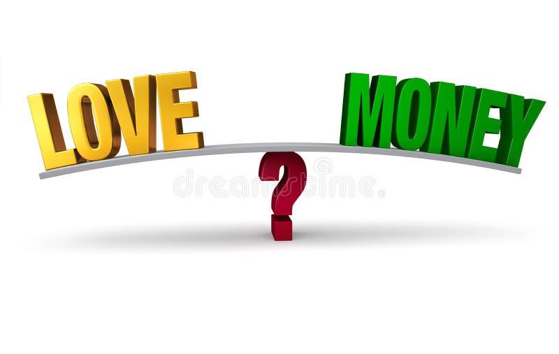 Επιλογή μεταξύ της αγάπης ή των χρημάτων ελεύθερη απεικόνιση δικαιώματος