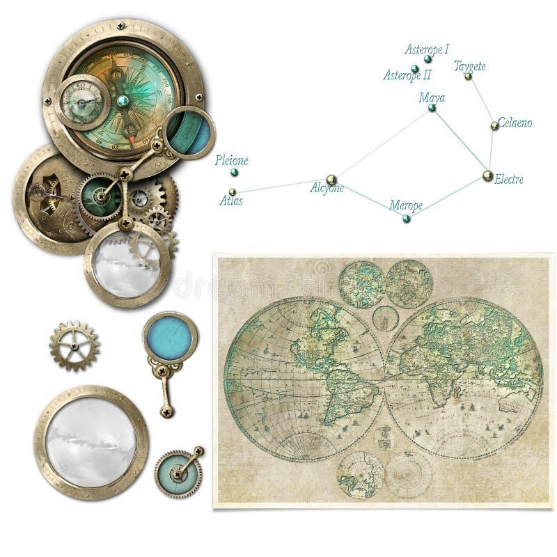 Επιλογή συσκευών αστρολογίας/πυξίδων Steampunk διανυσματική απεικόνιση