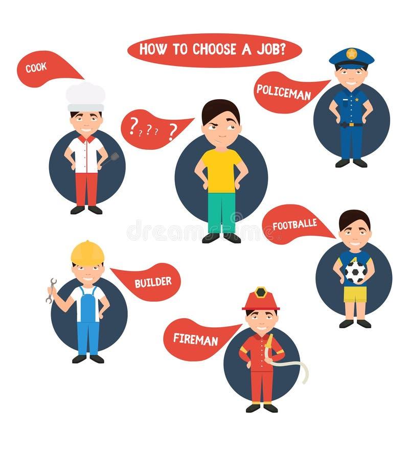 Επιλογή του επαγγέλματος, αστυνομικός, εργάτης οικοδομών, αρχιμάγειρας, πυροσβέστης, απεικόνιση αποθεμάτων