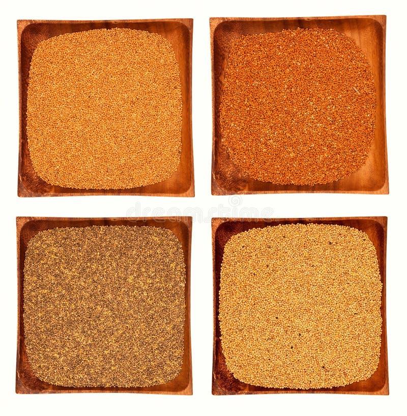 Επιλογή τροφίμων σιταριού και δημητριακών στα κύπελλα πέρα από το άσπρο υπόβαθρο στοκ φωτογραφία με δικαίωμα ελεύθερης χρήσης