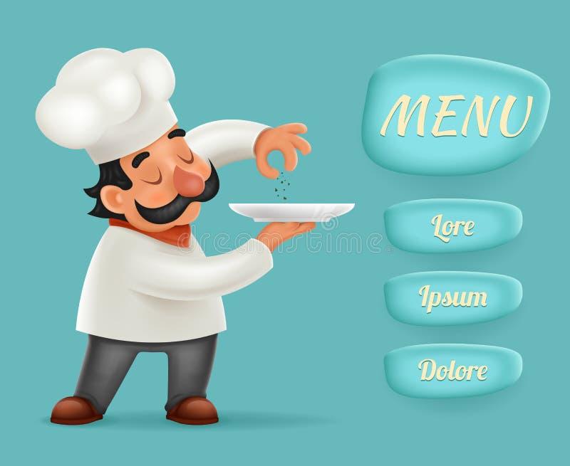 Επιλογών κουμπιών διεπαφών αρχιμαγείρων Cook εν ενεργεία διανυσματικός εικονογράφος σχεδίου χαρακτήρα κινουμένων σχεδίων τροφίμων διανυσματική απεικόνιση