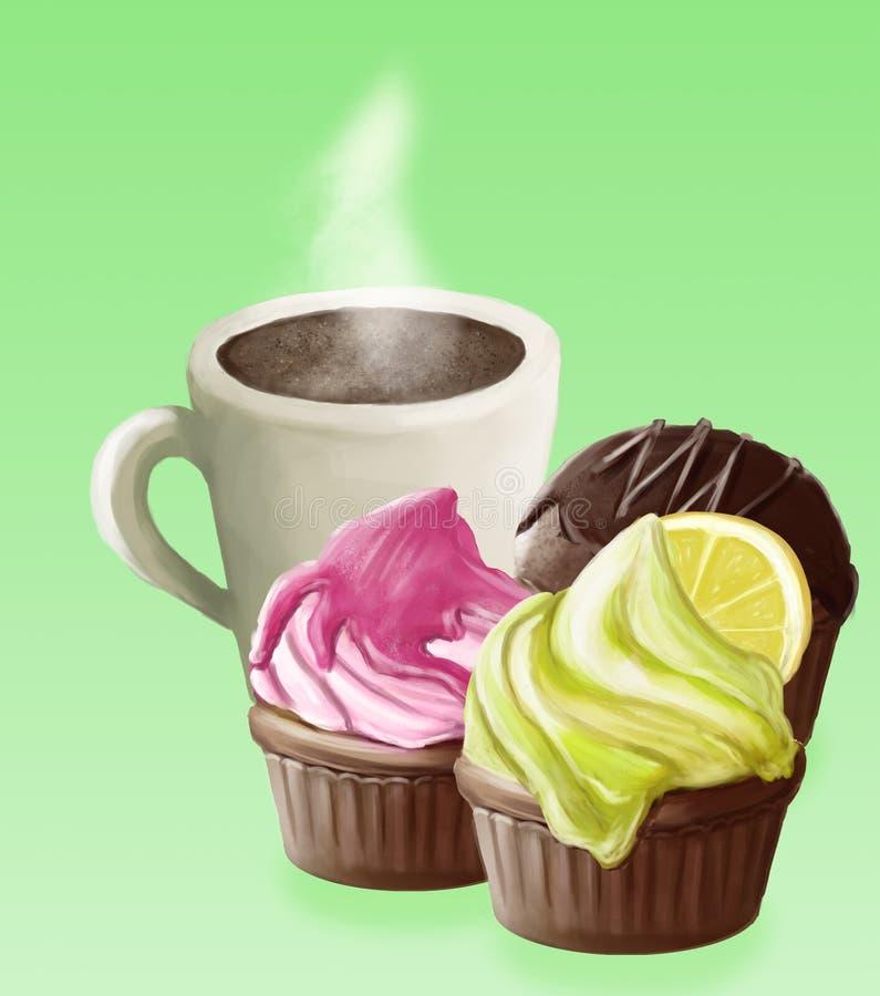 Επιδόρπιο: φλιτζάνι του καφέ και cupcakes απεικόνιση αποθεμάτων