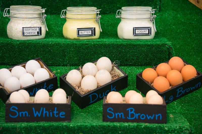 Επονομαζόμενα βάζα των γαλακτοκομικών προϊόντων και κιβώτια των αυγών στοκ εικόνες