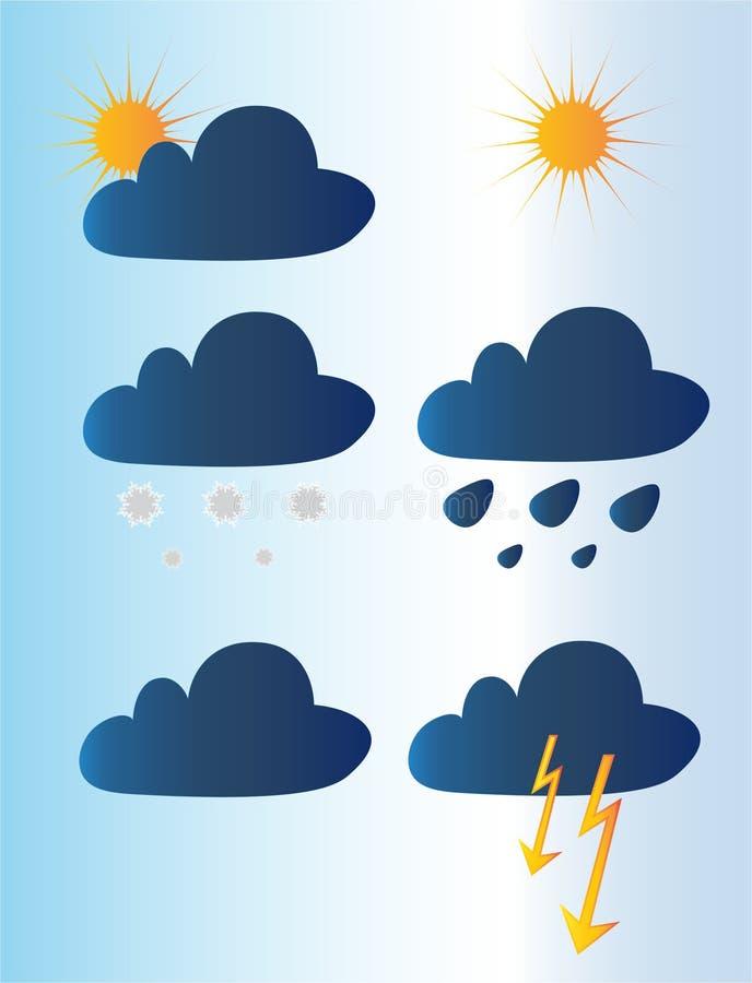 εποχές καιρός ήλιων βροχής εικονιδίων σύννεφων ελεύθερη απεικόνιση δικαιώματος