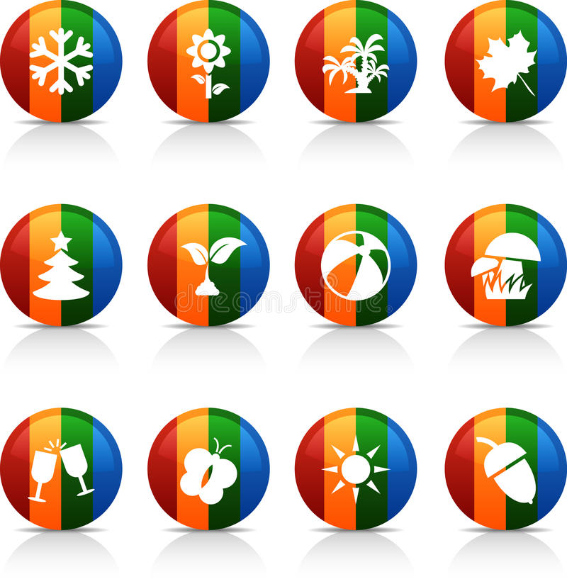 εποχές κουμπιών ελεύθερη απεικόνιση δικαιώματος