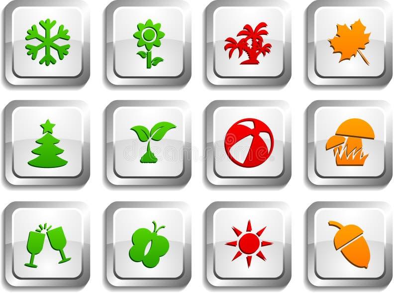 εποχές κουμπιών διανυσματική απεικόνιση
