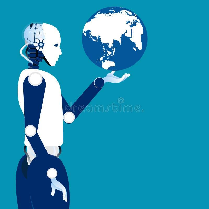 Εποχή παγκοσμιοποίησης Σφαίρα στο ρομποτικό χέρι Ρομπότ έννοιας και διανυσματική απεικόνιση
