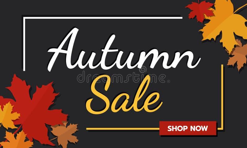 Εποχή φθινοπώρου προώθησης εμβλημάτων πώλησης στο σκοτεινό υπόβαθρο με τα μειωμένα φύλλα σφενδάμου και το κείμενο Εποχή φθινοπώρο διανυσματική απεικόνιση