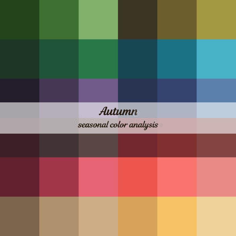 Εποχιακή παλέτα ανάλυσης χρώματος για τον τύπο φθινοπώρου Τύπος θηλυκής εμφάνισης απεικόνιση αποθεμάτων