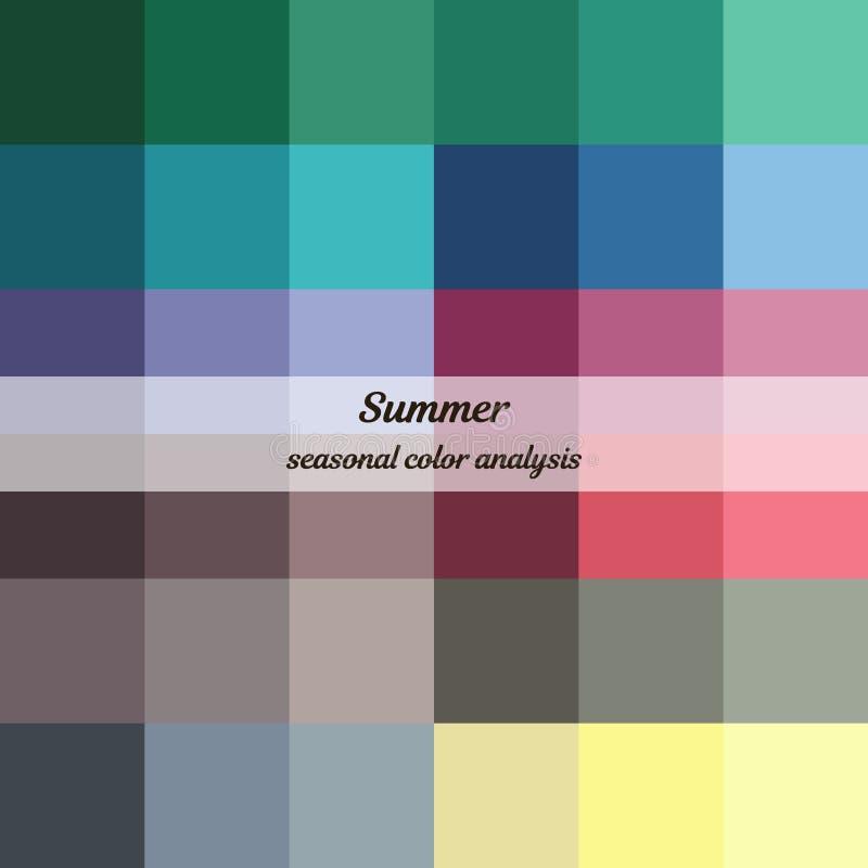 Εποχιακή παλέτα ανάλυσης χρώματος για το θερινό τύπο Τύπος θηλυκής εμφάνισης διανυσματική απεικόνιση