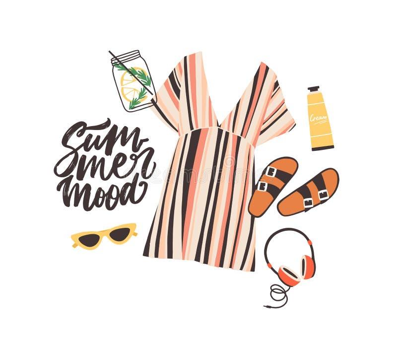Εποχιακή σύνθεση με το σύνθημα θερινής διάθεσης και κομψό μοντέρνο beachwear, τα γυαλιά ηλίου, κοκτέιλ, ακουστικά και διανυσματική απεικόνιση