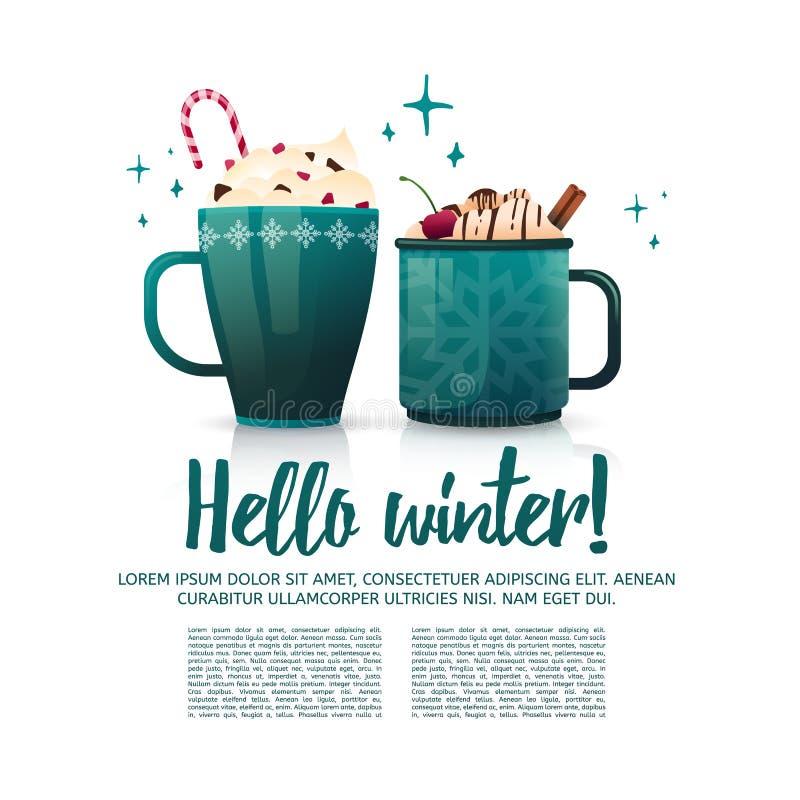 Εποχιακός χειμώνας εμβλημάτων σχεδίου γειά σου Ένα πρότυπο αφισών με μερικές καυτές κούπες ποτών Ποτά Χριστουγέννων με τον καφέ διανυσματική απεικόνιση