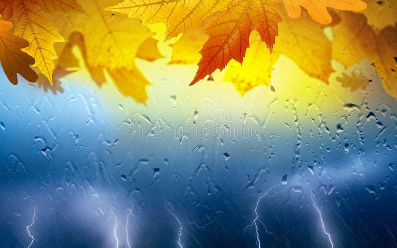 Εποχιακό κολάζ πτώσης - πορτοκαλιά φύλλα, ισχυρή αστραπή στοκ φωτογραφία