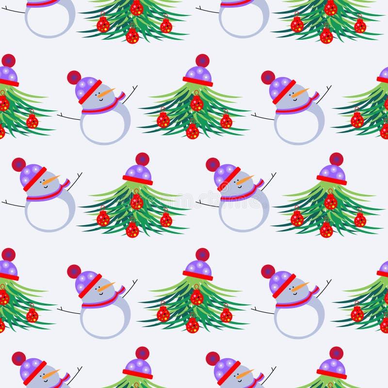 Download Εποχιακό χειμερινό ελαφρύ υπόβαθρο τους λευκοί χιονανθρώπους και Fir-trees, που διακοσμούνται με με τα παιχνίδια Χριστουγέννων κα Διανυσματική απεικόνιση - εικονογραφία από διακόσμηση, και: 62700249