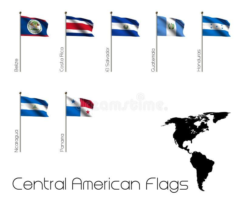 Επτά σημαίες της Κεντρικής Αμερικής διανυσματική απεικόνιση