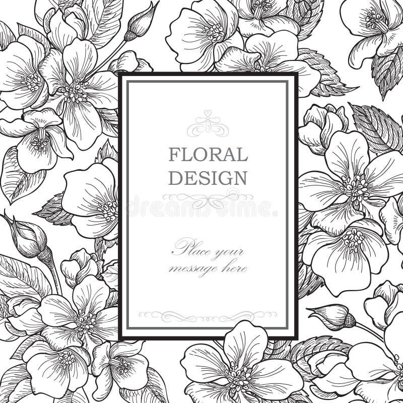 λεπτομερές ανασκόπηση floral διάνυσμα σχεδίων Εκλεκτής ποιότητας κάλυψη ανθοδεσμών λουλουδιών Ακμάστε την κάρτα W ελεύθερη απεικόνιση δικαιώματος