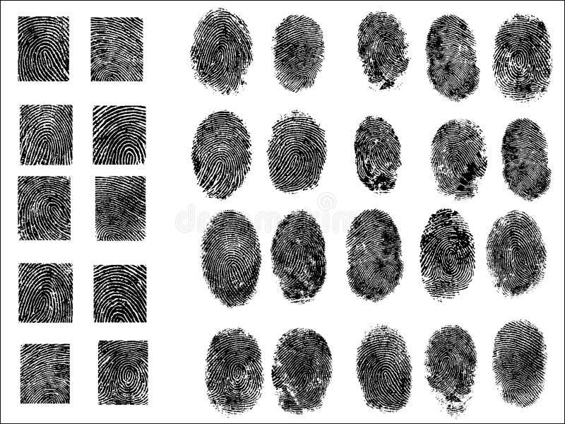 30 λεπτομερής υψηλή ανάλυση δακτυλικών αποτυπωμάτων πολύ διανυσματική απεικόνιση