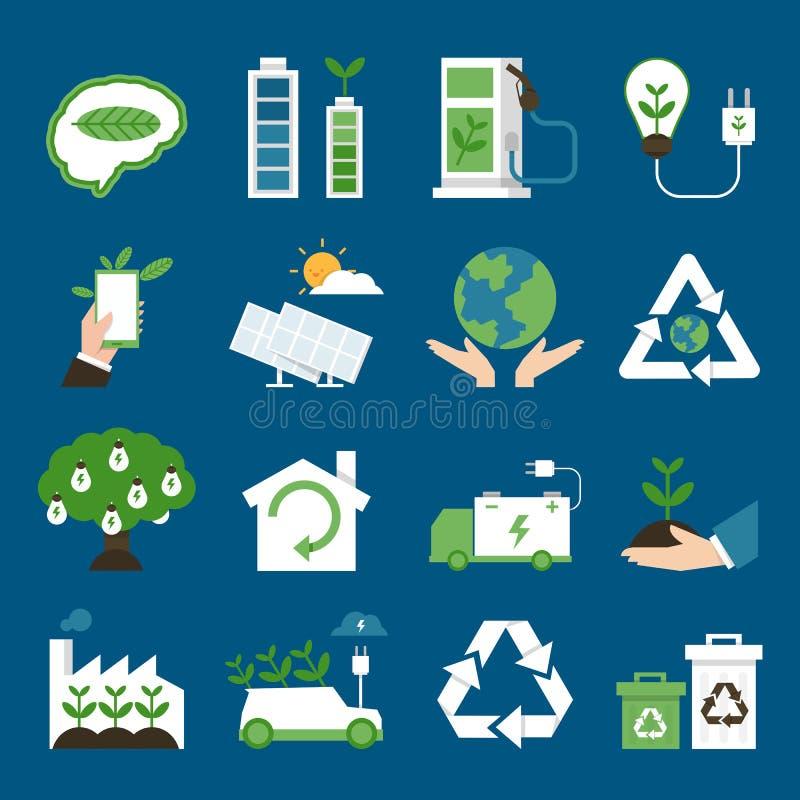λεπτομερή οικολογικά περιβαλλοντικά ιδιαίτερα εικονίδια eco διανυσματική απεικόνιση