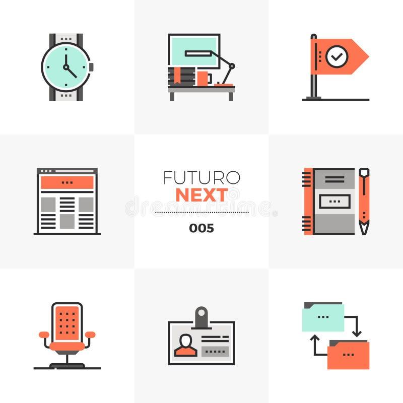 Επόμενα εικονίδια Futuro επιχειρησιακής ροής της δουλειάς διανυσματική απεικόνιση