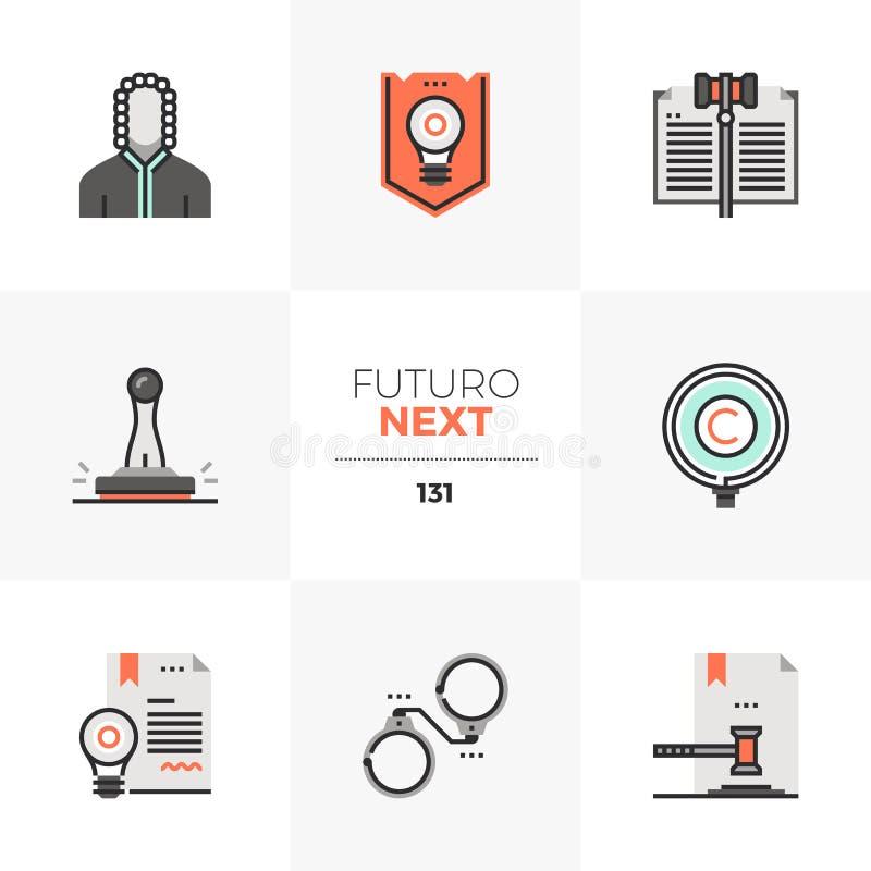 Επόμενα εικονίδια Futuro νόμου διπλωμάτων ευρεσιτεχνίας απεικόνιση αποθεμάτων