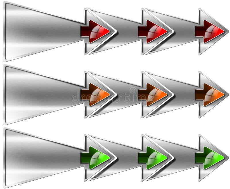 Επόμενο βήμα τρία διπλά βέλη διανυσματική απεικόνιση