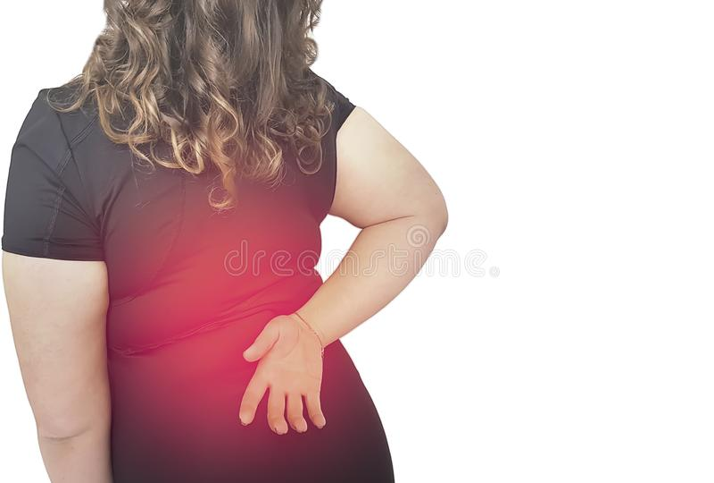 Επώδυνος ραχιαίος μυς ταλαιπωρίας γυναικών στοκ εικόνα με δικαίωμα ελεύθερης χρήσης
