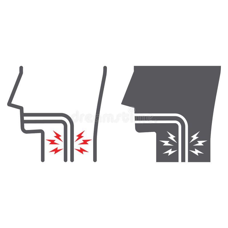 Επώδυνο γραμμή λαιμού και glyph εικονίδιο, σώμα και πόνος, σημάδι ανάφλεξης, διανυσματική γραφική παράσταση, ένα γραμμικό σχέδιο  ελεύθερη απεικόνιση δικαιώματος