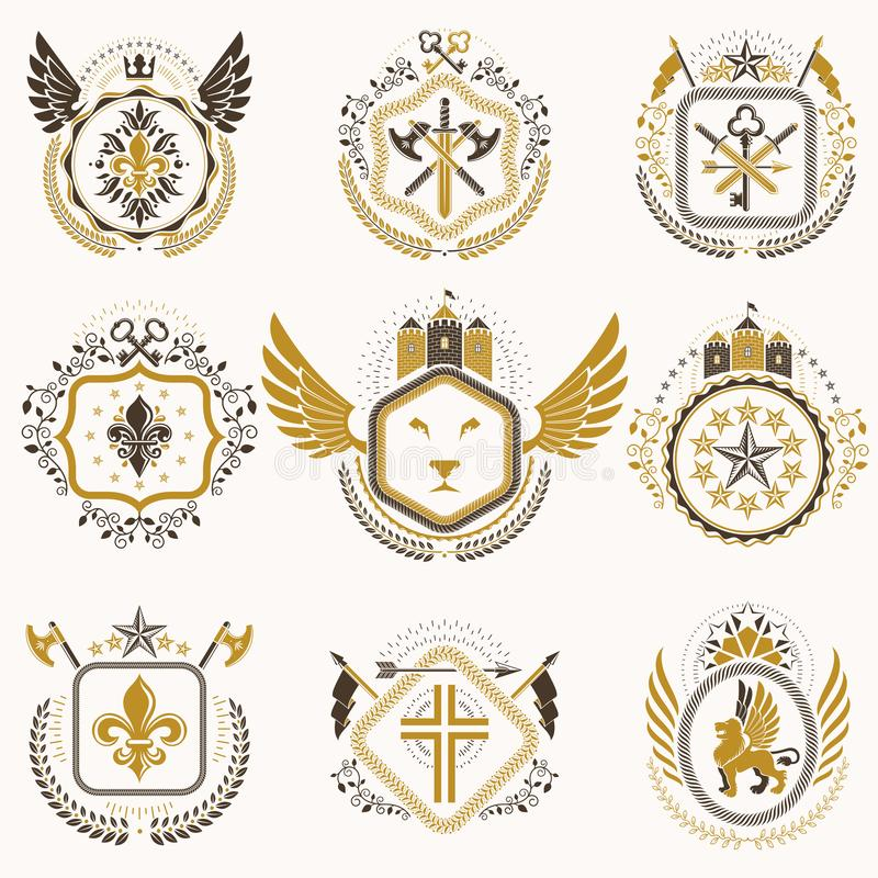 Εραλδικά διακοσμητικά εμβλήματα που γίνονται με τις βασιλικές κορώνες, ζωικό illus απεικόνιση αποθεμάτων