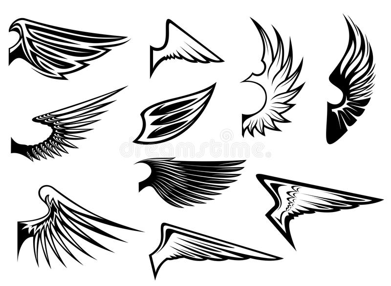 εραλδικά καθορισμένα φτερά ελεύθερη απεικόνιση δικαιώματος