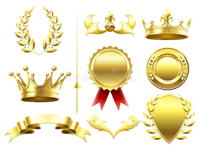 Εραλδικά τρισδιάστατα στοιχεία Βασιλικές κορώνες και ασπίδες Χρυσό μετάλλιο νικητών αθλητικής πρόκλησης Στεφάνι δαφνών και χρυσή  διανυσματική απεικόνιση