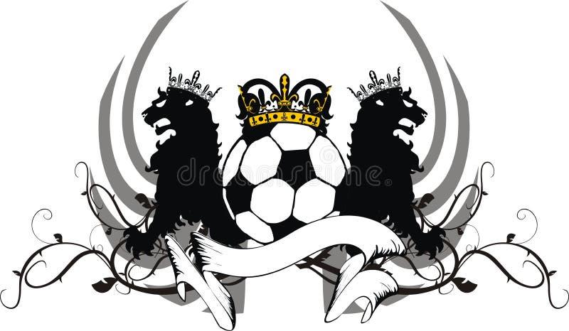 Εραλδική μαύρη κάλυψη futbol ποδοσφαίρου δερματοστιξιών κορωνών λιονταριών των όπλων ελεύθερη απεικόνιση δικαιώματος
