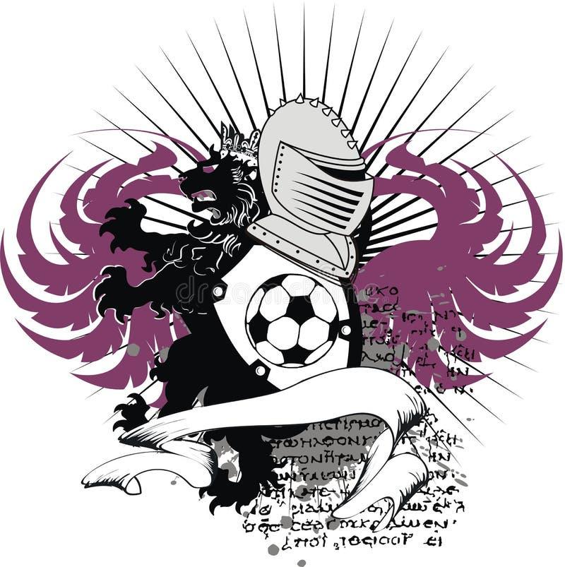 Εραλδική μαύρη κάλυψη futbol ποδοσφαίρου δερματοστιξιών λιονταριών κρανών των όπλων απεικόνιση αποθεμάτων