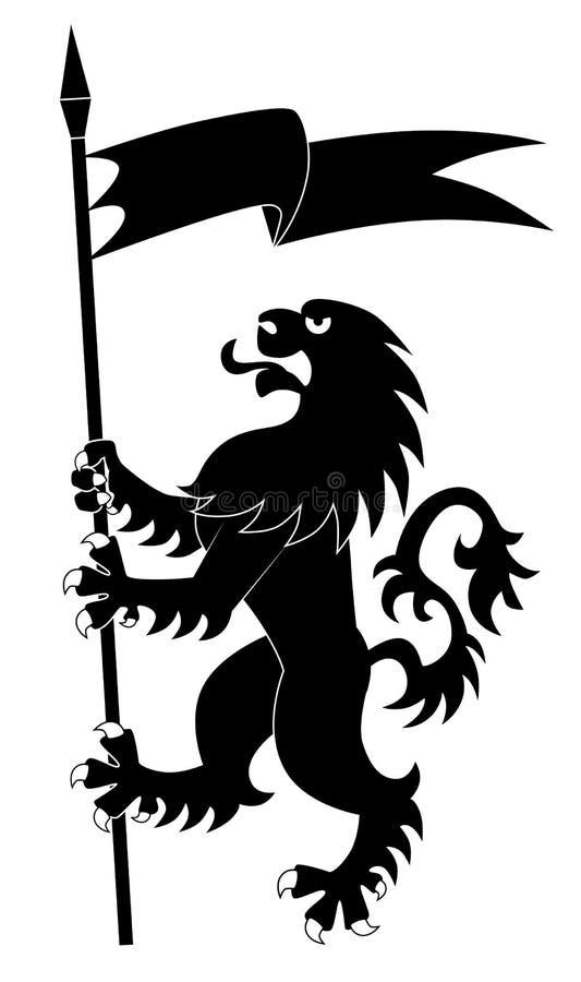 εραλδικό λιοντάρι σημαιών ελεύθερη απεικόνιση δικαιώματος