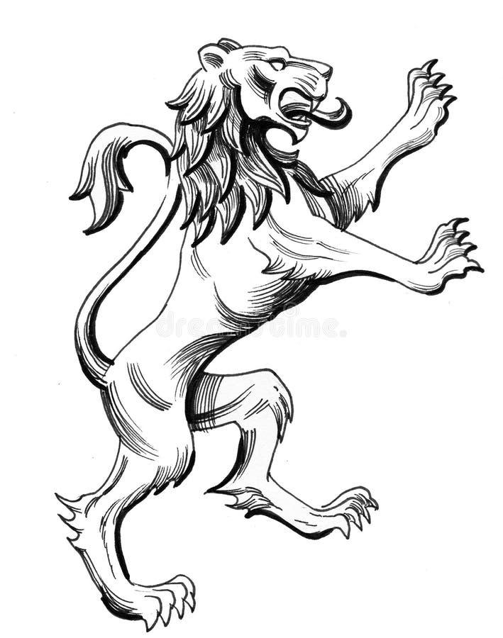 εραλδικό λιοντάρι ελεύθερη απεικόνιση δικαιώματος
