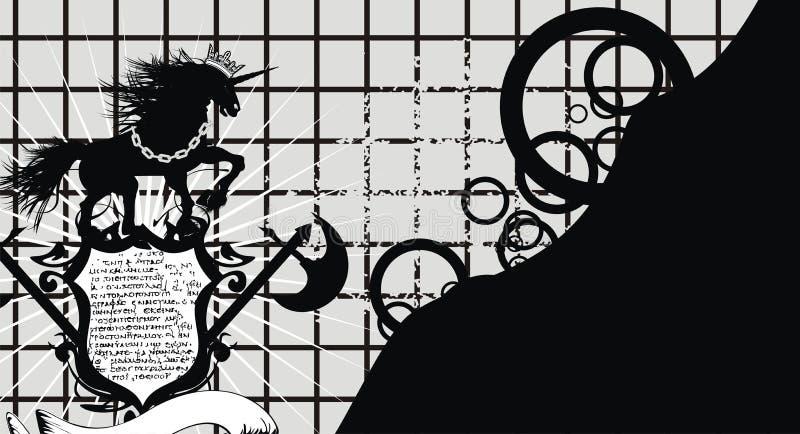 Εραλδικό μαύρο υπόβαθρο διακριτικών καλύψεων λόφων μονοκέρων των όπλων διανυσματική απεικόνιση