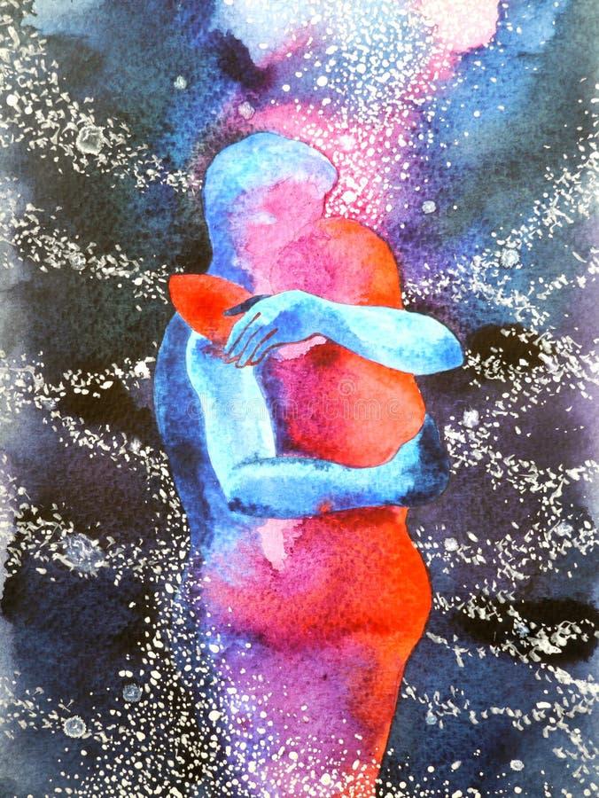 Εραστής ζεύγους που αγκαλιάζει στον κόσμο το αφηρημένο ελεύθερο μυαλό, μέσα στον κόσμο σας διανυσματική απεικόνιση