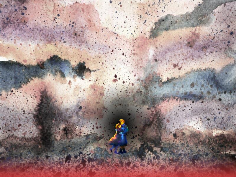 Εραστής ζεύγους στην απεικόνιση ζωγραφικής watercolor σκηνής πεδίων μαχών διανυσματική απεικόνιση