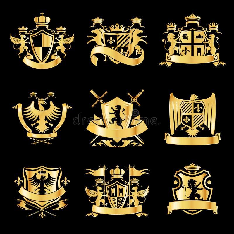 Εραλδικά χρυσά εμβλήματα διανυσματική απεικόνιση